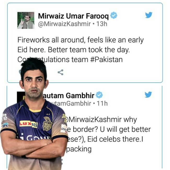 Mirwaiz, Mirwaiz Umar Farooq slammed by Gautam Gambhir, Gautam Gambhir slams Mirwaiz