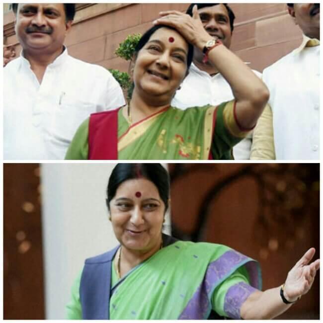 Sushma Swaraj, Happy Sushma Swaraj, Witty Sushma Swaraj