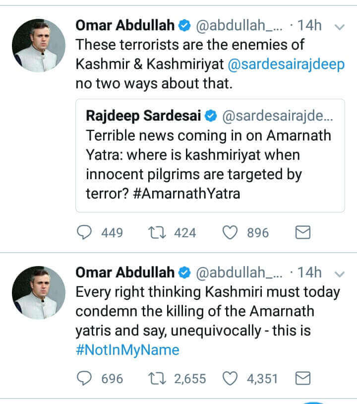 Omar Abdullah tweet on Amarnath attack, Omar Abdullah on Amarnath Attack