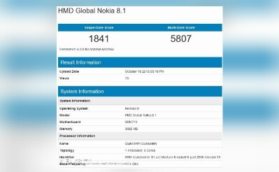 Nokia 8.1 GeekBench leak