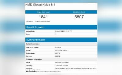 Nokia 8.1 GeekBench leak