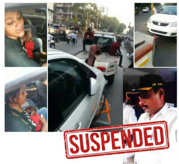 Malad Car Towed, SV Road Car Towed, Cop Tows Car with Woman