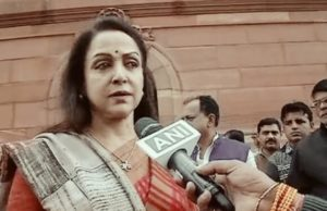 Hema Malini outside parliament, hema malini mp bjp, hema malini on rape case