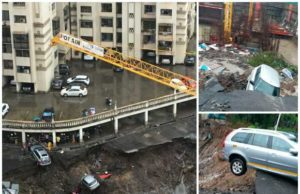 Wadala Damage due to Mumbai Rain, Wadala under construction building collapse, Wadala landslide, mumbai rain damage