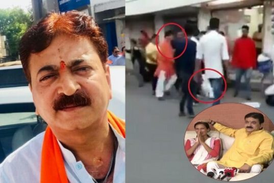 Gujarat BJP MLA beats NCP woman, naroda BJP MLA thrashes NCP woman leader, BJP beats ncp in naroda, balram beats Tejwani in naroda
