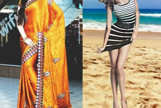 Fashion saree or Western fashion by Indian girls, fashion choice saree or Western wear, choice between saree and western wear
