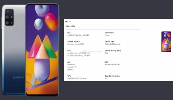 Samsung Galaxy M31s details on Google Play Console, Galaxy M31s details, Galaxy M31s launch date, Galaxy M31s specifications